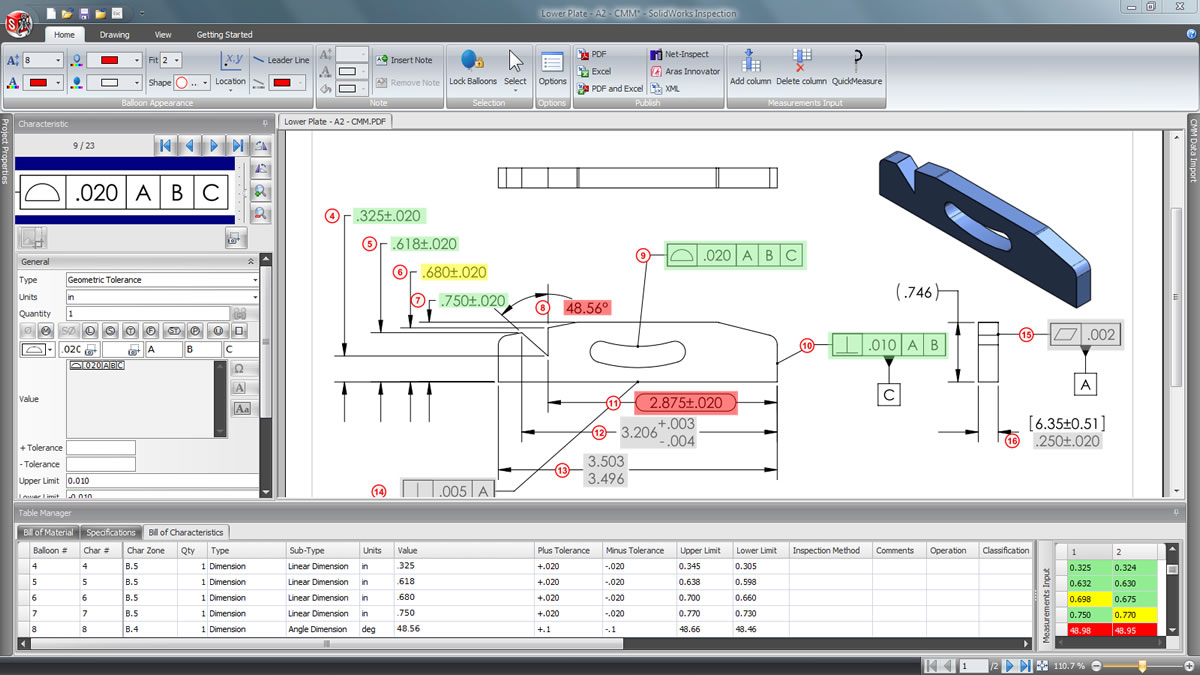 The Optical Character Recognition (OCR) feature within SOLIDWORKS  Inspection allows us to take customer drawings that arrive in PDF or TIFF  formats and read ...